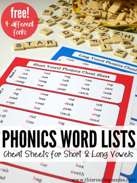 FREE Phonics Cheat Sheets- These phonics word lists include short and long vowel cheat sheets that can help kids spell and read thousands of words! Great for struggling readers, too!   This Reading Mama