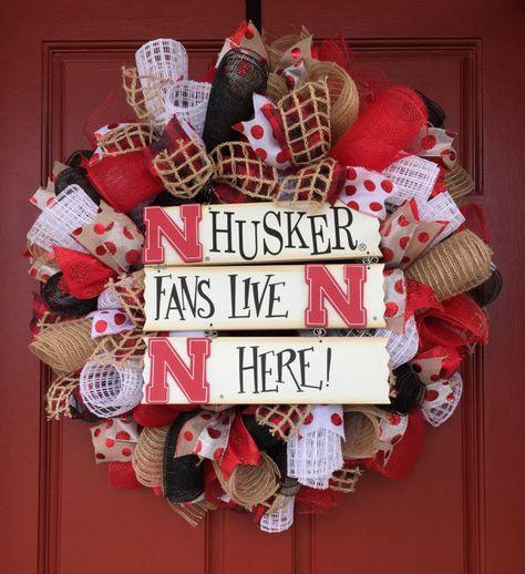 Nebraska Huskers Wreath University of Nebraska Decor Husker Decor Nebraska Football Big Red NCAA Football Decor Cornhusker Wreath