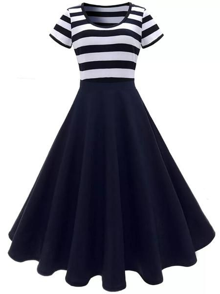Black 1950s Striped Pendulum Swing Dress Retro Stage Chic Vintage Dresses And Accessories Maxi Dress Cocktail Striped Midi Dress Retro Dress