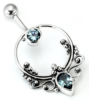 """14g 7/16"""" Bali FRAME Sterling Silver Navel Belly Jewelry :: Bali Belly Rings :: Belly Rings :: Painful Pleasures, Inc."""