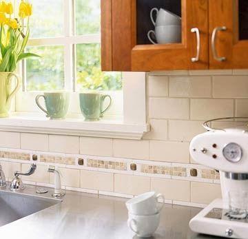 Subway Tile Kitchen Backsplash With Accent Tile Subway Tile