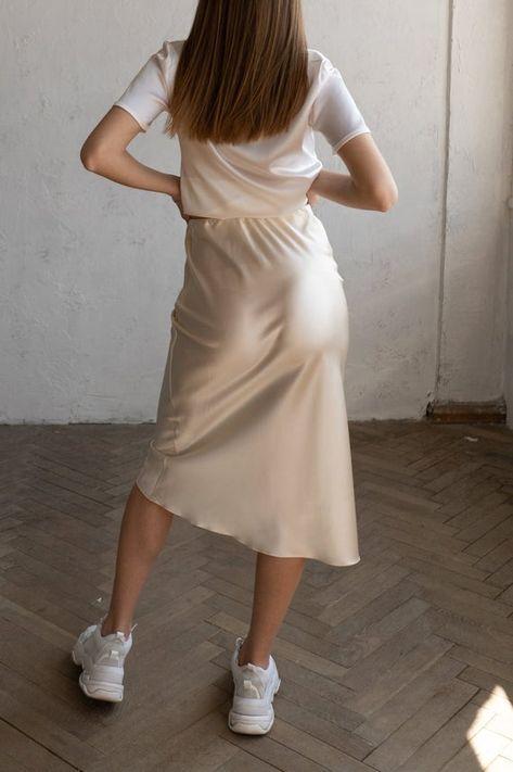Silk slip skirt midi Cream silk satin skirt Silk slip bias cut   Etsy