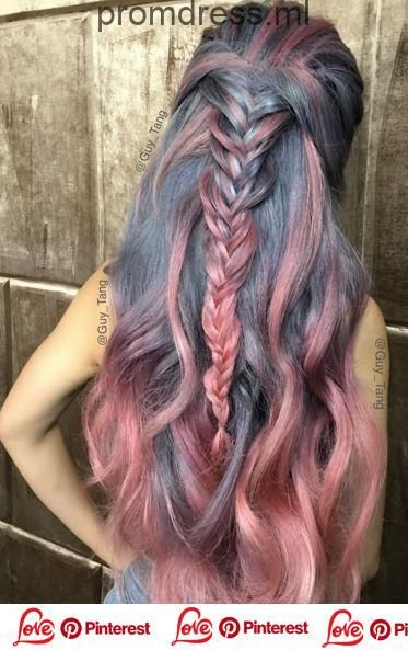 Hair Dye Ideas Colorful Gray Blue And Pink Hair With Fishtail