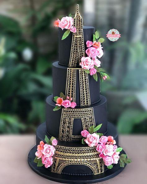Eiffel Tower cake - black and gold cake Crazy Cakes, Crazy Wedding Cakes, Fancy Cakes, Wedding Cupcakes, Paris Themed Cakes, Paris Cakes, Pretty Cakes, Beautiful Cakes, Amazing Cakes