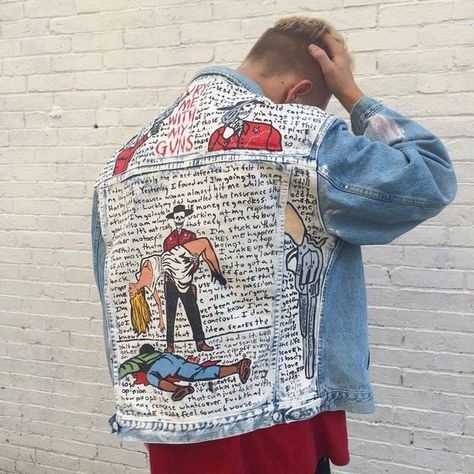 Denim Jacket, pants and shoes with hand-painted glow in the dark space scene on the back - Art Modern