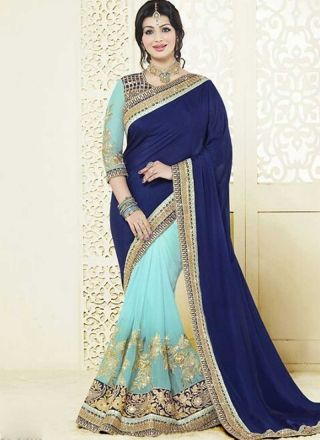 Ayesha Takia Navy Blue Sky Blue Embroidery Work Georgette Designer Half Sarees  http://www.angelnx.com/Sarees