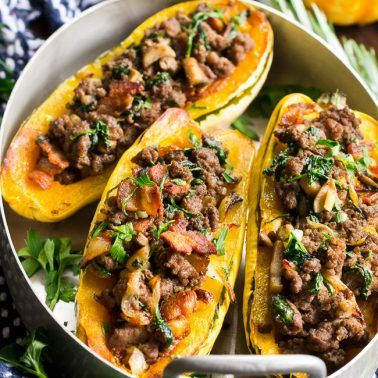 Delicata Squash With Caramelized Onion Beef Bacon Stuffing Paleo Whole30 Recipe Delicata Squash Recipe Beef Recipes Ground Beef Recipes