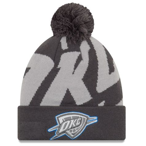 38ada9a360e get oklahoma city thunder new era logo whiz 3 cuffed knit hat with pom  black gray