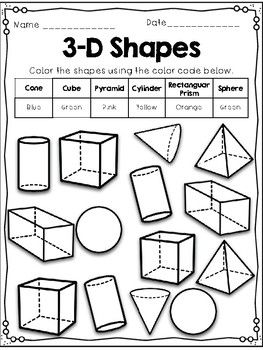 Identifying 3d Shapes Coloring Sheets Shapes 3d Shapes