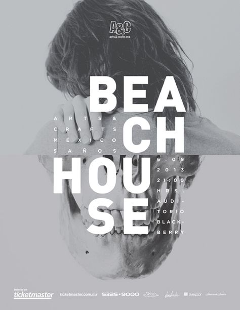 Beach house music poster design in black and white