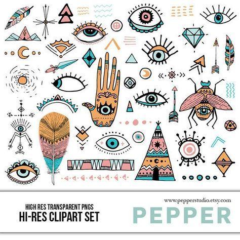 Boho Style Doodle Clipart Set - Hi Res Printable Bohemian Icons, Hamsa Evil Eye, Hand Drawn Illustra