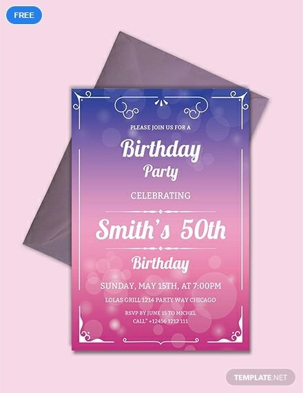 Free 50th Birthday Invitation Template Party Invite Template 50th Birthday Party Invitations Free Party Invitation Templates