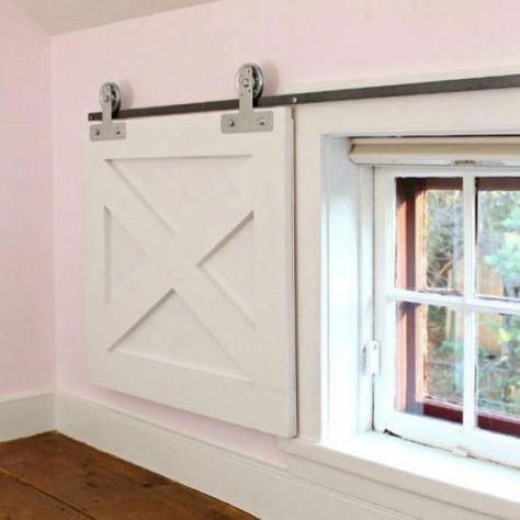 Barn Door Window Coverings Add Character And Charm To Your Window By Adding A Barn Door Covering Via Jaime Costiglio Diy Rooms Interior Barn Doors