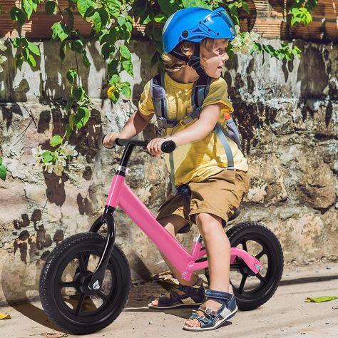 "Black//Pink 12/"" Balance Kids No-Pedal Learning Bicycle"