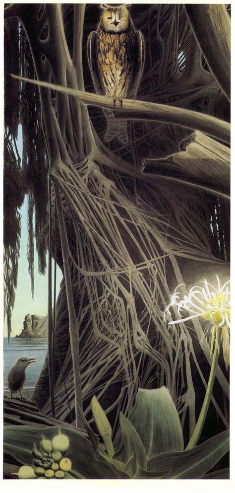 田中一村 Isson Tanaka「榕樹に虎みゝづく」 japanese painting