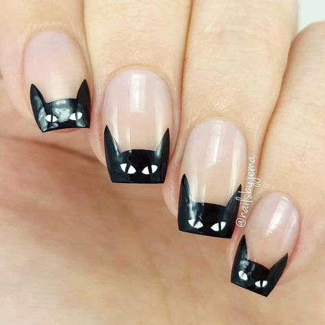 Cats or Batman Fall Nail Art Looking for some easy yet cute ideas for Halloween nail art designs? Our collection includes everything you might want from scary blood nails patterns to funny ghost prints. Let your mani look its best on this Halloween night!