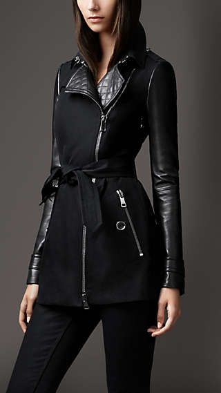 Shop for Short Leather Detail Cotton Biker Trench Coat by Burberry at ShopStyle.