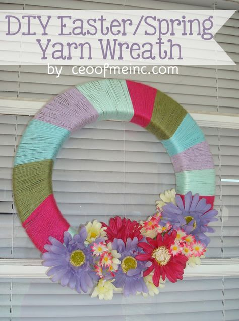 DIY Easter or Spring Wreath Made with Yarn Tutorial #easter #spring #crafts #diy #yarnwreath #wreath #springdecor