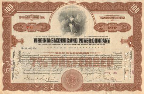Virginia Electric /& Power Company Stock Certificate