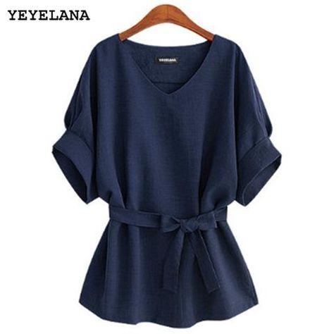 ebb8979e120c5 YEYELANA 2018 Summer Women Blouses Linen Tunic Shirt V Neck Big Bow ...