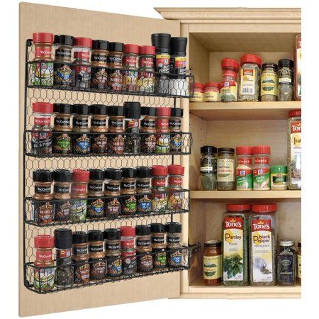Spice Rack Organization, Kitchen Organization Pantry, Diy Kitchen Storage, Organizing Small Kitchens, Organized Pantry, Bathroom Organization, Kitchen Hacks, Organization Ideas For The Home, Pantry Door Organizer