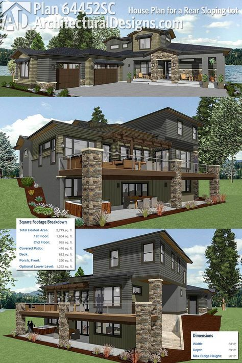 Plan 64452sc House Plan For A Rear Sloping Lot Sloping Lot House Plan Architectural Design House Plans Lake House Plans