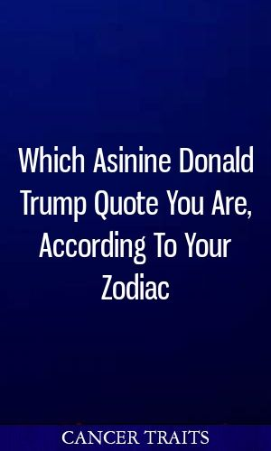 Which Asinine Donald Trump Quote You Are, According To Your Zodiac