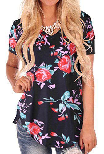 6ecd23bb1357 NIASHOT Women's Short Sleeve Loose Casual V-Neck Floral T-Shirt Tops  #fashion #womenfashion #menfashion #clothing