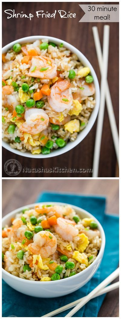 This is one of my go-to 30-minute meals and my family can't get enough of this shrimp fried rice. @natashaskitchen #shrimpfriedrice #friedrice #friedricerecipes #shrimp #rice #ricerecipes