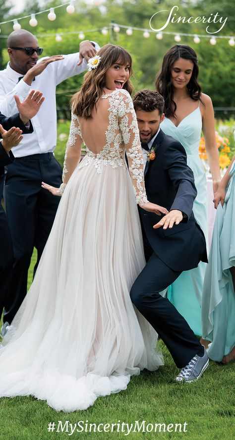 """Dancing with our bridal party was #MySincerityMoment. We had so much fun!"""