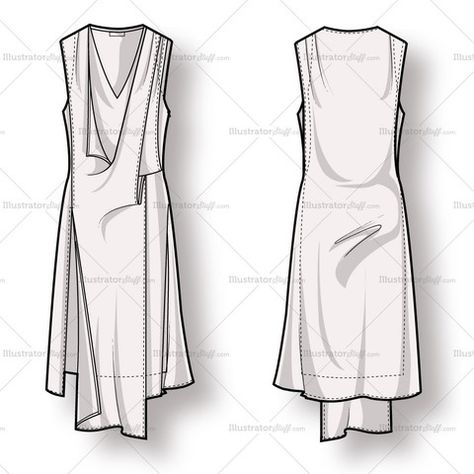 Women& sleeveless draped dress with overlapping panels at front, asymmetrical hem and detailing. Includes front and back of fashion sketch.