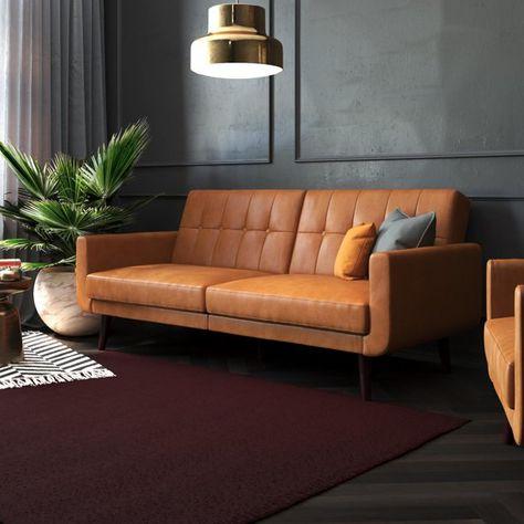 Futon Sofa Cama, Sofa Bed Sleeper, Cama Vintage, Vintage Sofa, Living Room Small, Living Room Sofa, Living Rooms, Sofa Bed Fold Out, Faux Leather Couch