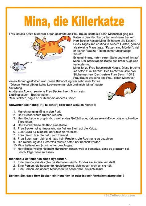 Einfache Texte Mina Die Killerkatze Deutsch Lernen