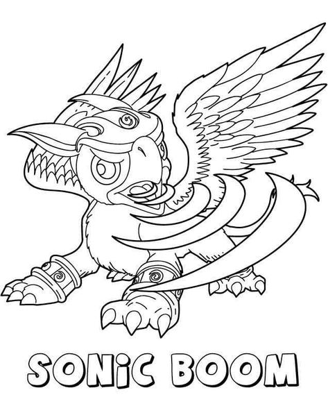 Sonic Boom From Skylanders Coloring Pages In 2020 Coloring Pages Dragon Coloring Page Coloring Books