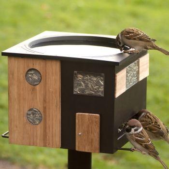 Futterspender mit Vogelbad schwarz Wildlife Garden Futterhaus Vogeltränke