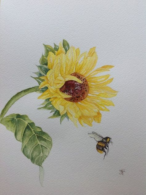 Original Watercolour Painting Sunflower and Bee, Wall Art, Wall Decor, Watercolour Flowers, Sunflower Painting,  Watercolor Sunflower, A4