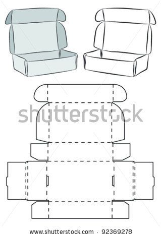 Template Of A Box Does Not Need Glue To Emble Stock Vector