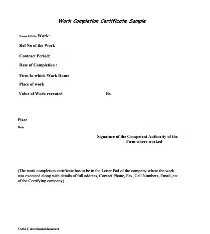 6 Work Completion Certificate Formats In Word Certificate