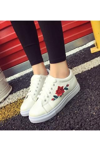 Floral Embroidery White Sneakers