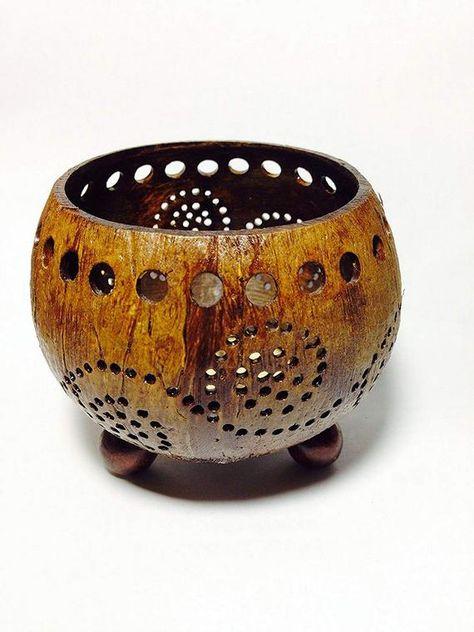 Coconut Shell Tealight Holder Pot Lotus Shape Hand Carved Flower Wooden Vase