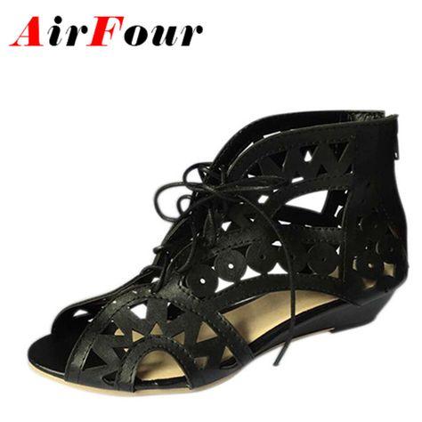 Sale onAirfour Big Size 34 43 Fashion Cutouts Lace Up Women