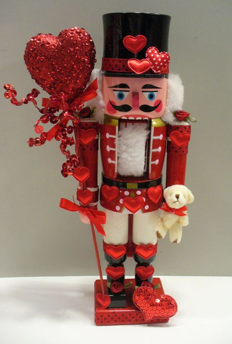 Red Red Red hearts valentines-Nutcracker with cute teddy bear