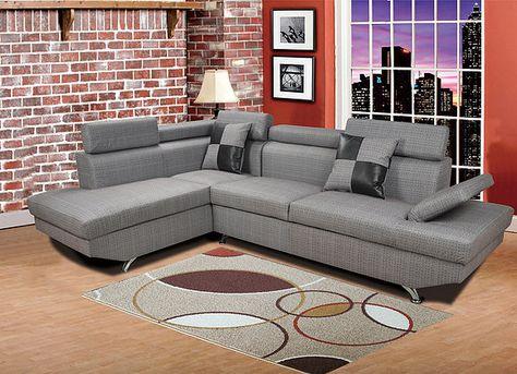 F2808 2 pc Elena gray microfiber sectional sofa with throw ...