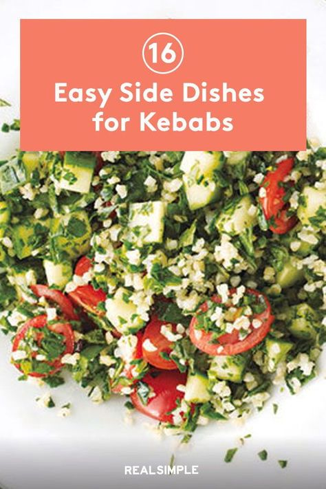 16 Easy Side Dishes for Kebabs | Whether you're craving veggies, a nice salad, or something a little more hearty—but never heavy—there's a great, easy side dish for kebabs here for you. #realsimple #easysidedishes #sidedishideas #partysidedish