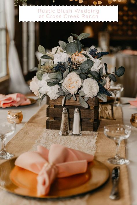 Mixing rustic and romantic details with soft hues and blush blooms to create the dreamiest day. Ready to fall in love with Paige + Michael's romantic blush wedding? Click the link to see their blog today! Images by Created Four. #tampaweddings #rusticweddings #barnweddings #covidwedding #blushwedding