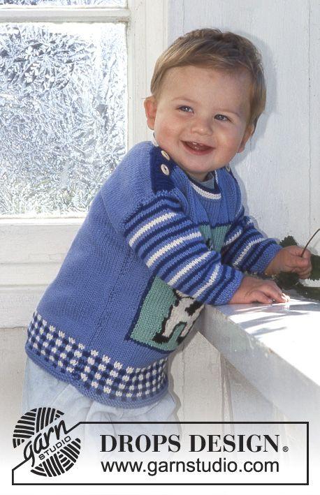 Moo Drops Baby 6 24 Free Knitting Patterns By Drops Design En 2020 Tricot Gratuit Modeles De Pull De Bebe Tricot Bebe Garcon