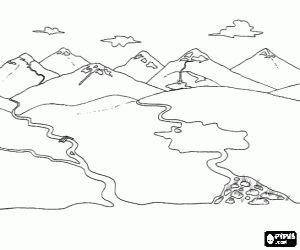 Desenho De Uma Paisagem Com Dois Rios Para Colorir Desenho