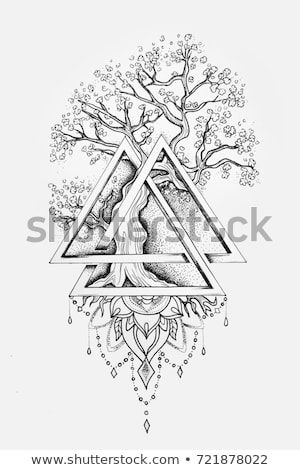 A sketch of a beautiful big tree in a triangle on a white background.