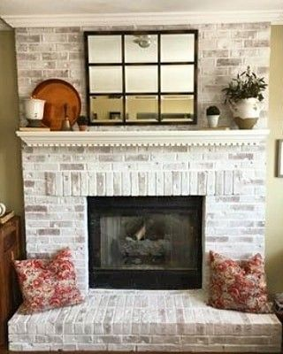 Beautiful Fireplace Makeover By Susan Meyers Using Romabio Classico Limewash Paint Painted Brick Fireplaces Brick Fireplace Makeover White Wash Brick Fireplace