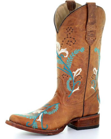 e5478c0723c Circle G Women's Turquoise Embroidered Cowgirl Boots - Square Toe in ...